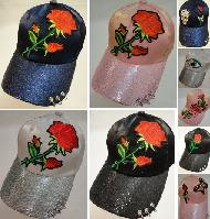 Ladies Sparkle Hat [Asst Applique] Rings on Bill